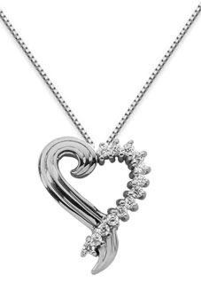 0.39 Diamond Swirl Heart Pendant, 14K White Gold