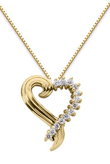 Diamond Swirl Heart Necklace, 14K Yellow Gold