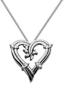 Floral Diamond Heart Pendant, 14K White Gold