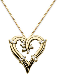 Floral Diamond Heart Necklace, 14K Yellow Gold