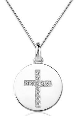 Small Diamond Cross Medallion, 14K White Gold