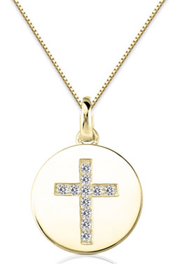 Small Diamond Cross Medallion, 14K Yellow Gold