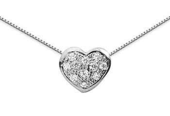 0.22 Pave Diamond Heart Necklace, 14K White Gold