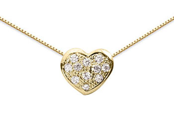 0.22 Pave Diamond Heart Pendant, 14K Yellow Gold