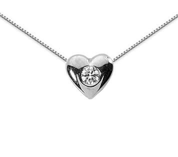 0.10 Carat Diamond Solitaire Heart Necklace, 14K White Gold