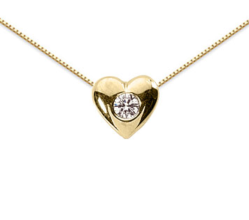 0.10 Carat Diamond Solitaire Heart Pendant, 14K Yellow Gold