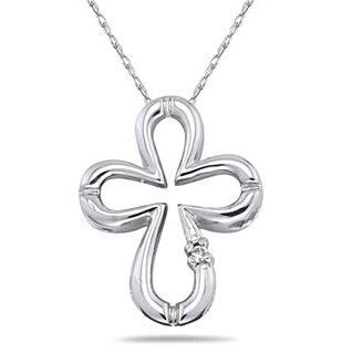 Clover-Shaped Diamond Cross Pendant in 10K White Gold