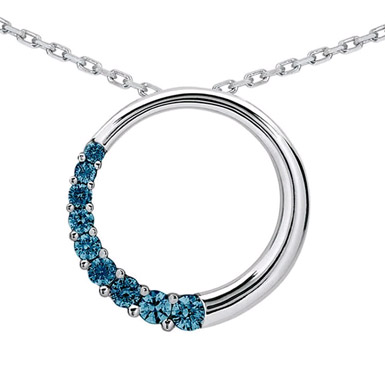 1/4 Carat Blue Diamond Circle Journey Pendant