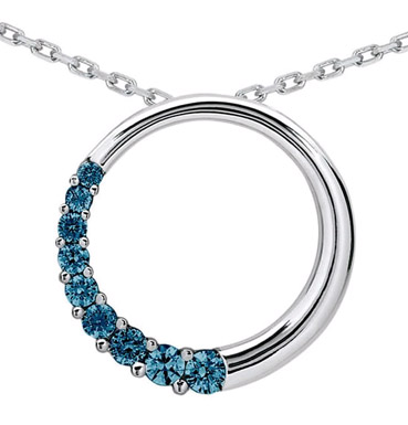 1/2 Carat Blue Diamond Circle Journey Pendant