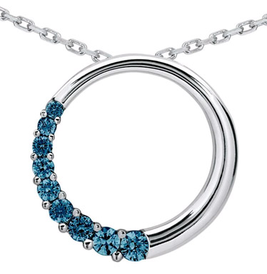 1 Carat Blue Diamond Circle Journey Pendant