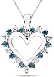 1 Carat Blue and White Diamond Heart Pendant