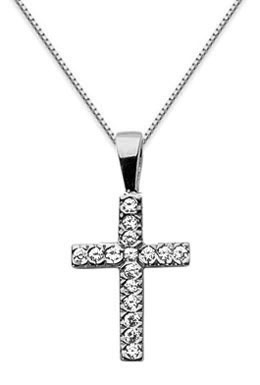 Small Diamond Cross Pendant, 14K White Gold