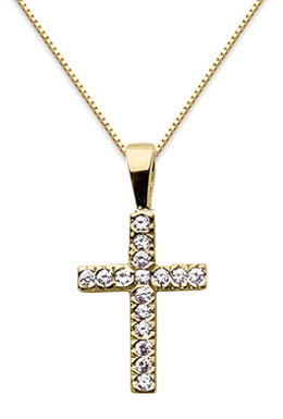 Small Diamond Cross Pendant, 14K Yellow Gold