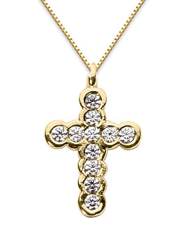 Bezel Set Diamond Cross Necklace, 14K Yellow Gold