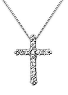 Petite Diamond Cross Necklace, 14K White Gold