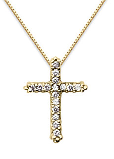 Petite Diamond Cross Pendant, 14K Yellow Gold