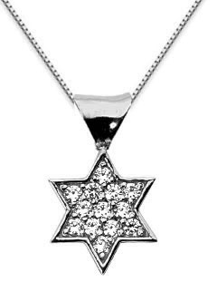 Pave Diamond Star of David Pendant, 14K White Gold