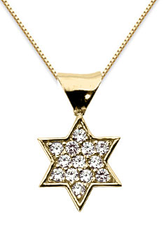 Pave Diamond Star of David Necklace, 14K Yellow Gold
