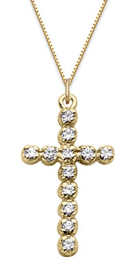 1/4 Carat Diamond Cross Pendant, 14K Yellow Gold