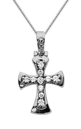 Roman Cross Diamond Cross Pendant, 14K White Gold