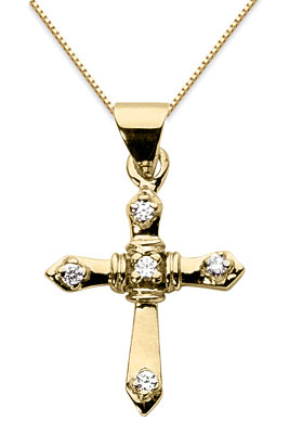Diamond Sword Cross Pendant, 14K Yellow Gold