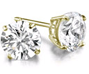 1.50 Carat Round Diamond Stud Earrings in 18K Yellow Gold