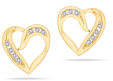 0.24 Carat Diamond Heart Earrings in 14K Gold