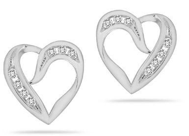 0.24 Carat Diamond Heart Earrings in 14K White Gold (Earrings, Apples of Gold)