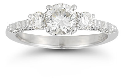 Three Stone Heart-Accent Diamond Engagement Ring