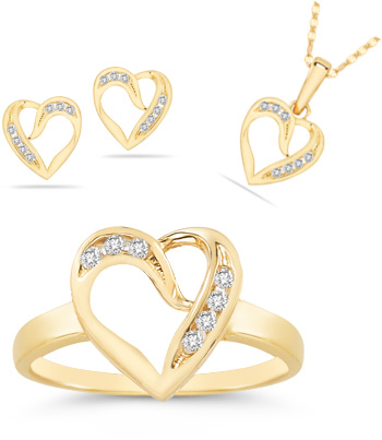 7 Stone Heart Jewelry Ring, Earrings, and Pendant Collection in 14K Gold