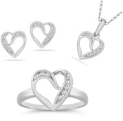7 Stone Diamond Heart Ring, Earrings, and Pendant Collection in 14K White Gold