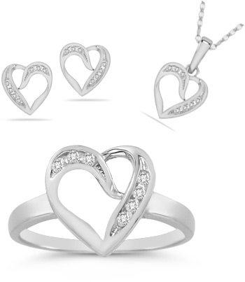 Buy 7 Stone Diamond Heart Ring, Earrings, and Pendant Collection in 14K White Gold
