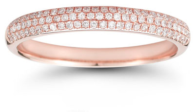 Three-Row 0.30 Carat Diamond Band in 14K Rose Gold