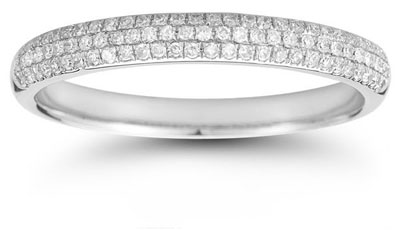 Three-Row 0.30 Carat Diamond Band in 14K White Gold