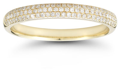 Three-Row 0.30 Carat Diamond Band in 14K Yellow Gold