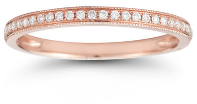 Milgrain Diamond Band in 14K Rose Gold
