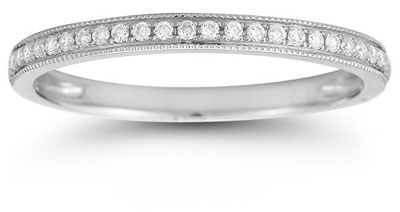 Milgrain Diamond Band in 14K White Gold