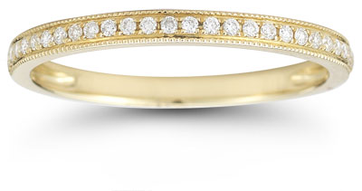 Milgrain Diamond Band in 14K Yellow Gold