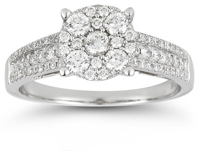 0.75 Carat Diamond Circle Engagement Ring in 14K White Gold