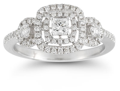 0.77 Carat Diamond Engagement Ring in 14K White Gold