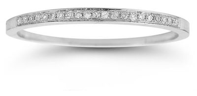 Polished Diamond Band in 14K White Gold