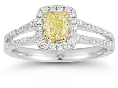 0.90 Carat Cushion-Cut Yellow and White Diamond Ring
