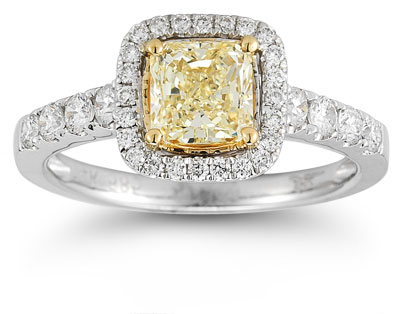 1.50 Carat Radiant-Cut Yellow and White Diamond Ring