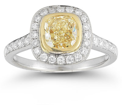 Canary Yellow and White Bezel-Set Diamond Ring, cushion cut