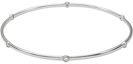 Bezel-Set Diamond Bangle Bracelet, 14K White Gold
