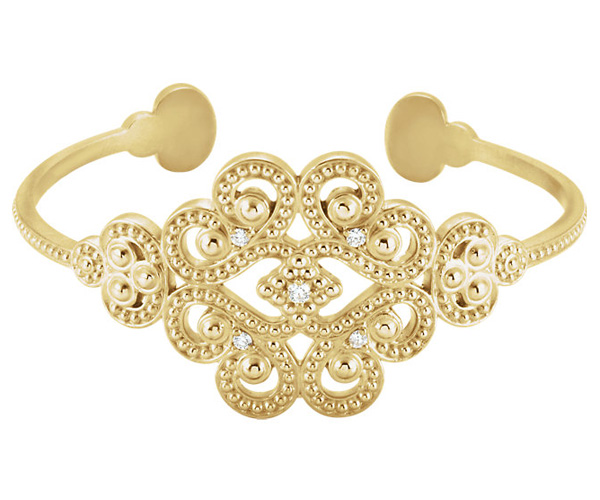 Designer Diamond Paisley Cuff Bangle Bracelet, 14K Gold