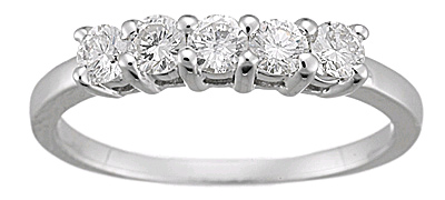 1/2 Carat 5 Stone Diamond Ring, 14K White Gold