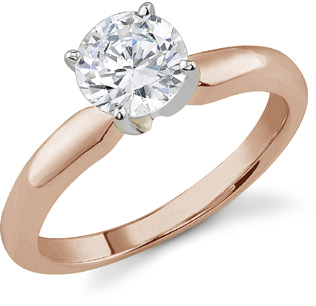 GIA Graded 1/2 Carat Diamond Solitaire Ring, H Color, SI1 Clarity, 14K Rose Gold
