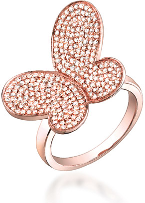 0.80 Carat Diamond Butterfly Ring in 14K Rose Gold
