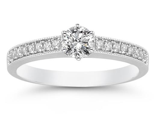 0.40 Carat Milligrain Diamond Ring in 14K White Gold